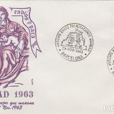 Sellos: AÑO 1963, BARCELONA, ANTICIPE ENVIO DE FELICITACIONES NAVIDEÑAS, EN SOBRE DE ALFIL. Lote 177591212