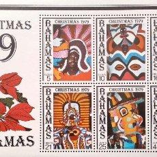 Sellos: BAHAMAS. HB 19 NAVIDAD: MÁSCARAS Y ESCENAS DEL CARNAVAL DE GOOMBAY. 1979. SELLOS NUEVOS Y NUMERACIÓN. Lote 182238256