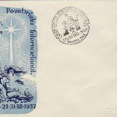 Sellos: AÑO 1957, III CONGRESO PESEBRISTA INTERNACIONAL EN BARCELONA, SOBRE DE ALFIL. Lote 182285775