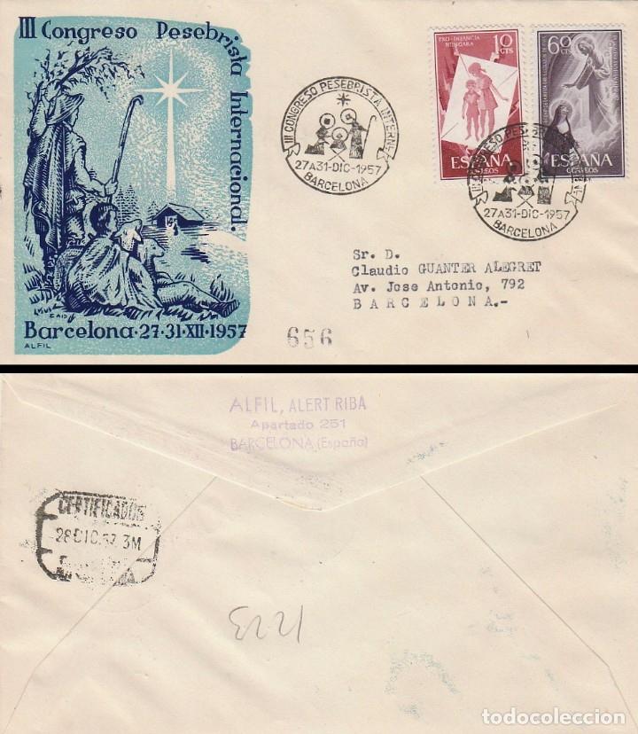 AÑO 1957, III CONGRESO PESEBRISTA INTERNACIONAL EN BARCELONA, SOBRE DE ALFIL CIRCULADO (Sellos - Temáticas - Navidad)