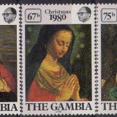 Sellos: GAMBIA 1980 IVERT 416/8 * NAVIDAD - CUADROS DE MURA Y CORREGIO - PINTURA RELIGIOSA. Lote 184033023