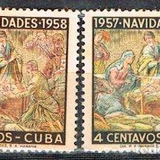 Sellos: CUBA Nº 570/1, NAVIDAD 1958, NUEVO CON SEÑAL DE CHARNELA. SERIE COMPLETA. Lote 185739775