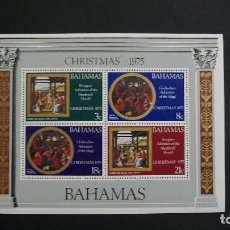 Sellos: BAHAMAS-1975-Y&T BL. 15**(MNH)-NAVIDAD. Lote 187473082
