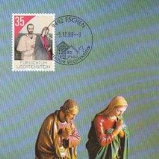 Sellos: LIECHTENSTEIN IVERT 895, NAVIDAD 1988 (FIGURTAS DEL BELEN), TARJETA MAXIMA DE 5-12-1988. Lote 191807547