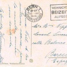 Sellos: SUIZA, ENVIE CON TIEMPO LAS FELICITACIONES DE NAVIDAD, RODILLO DE BERNA DEL 21-12-1931. Lote 194059702