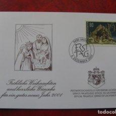 Selos: LIECHTENSTEIN 2000, FELICITACION DE NAVIDAD Y AÑO NUEVO 2001 DEL SERVICIO FILATELICO. Lote 198502970