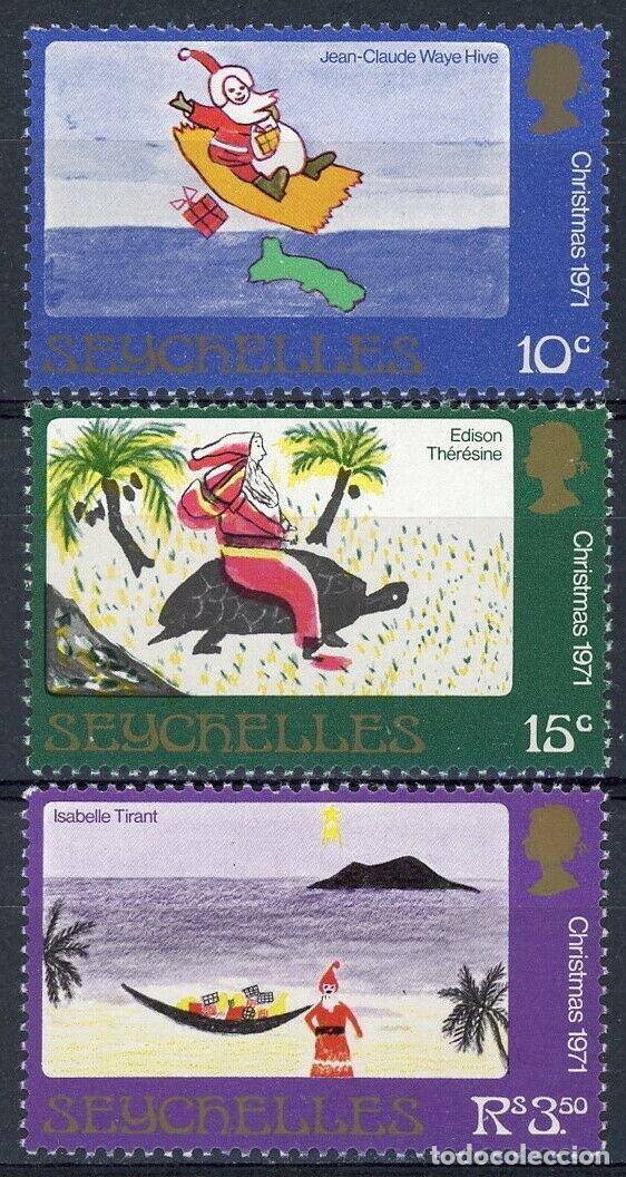 SEYCHELLES 1971 IVERT 285/7 * NAVIDAD - DIBUJOS INFANTILES (Sellos - Temáticas - Navidad)