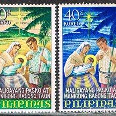 Sellos: FILIPINAS Nº 837/8, NAVIDAD 1967, SAGRADA FAMILIA (VERSIÓN FILIPINA), NUEVO *** (SERIE COMPLETA). Lote 225495085