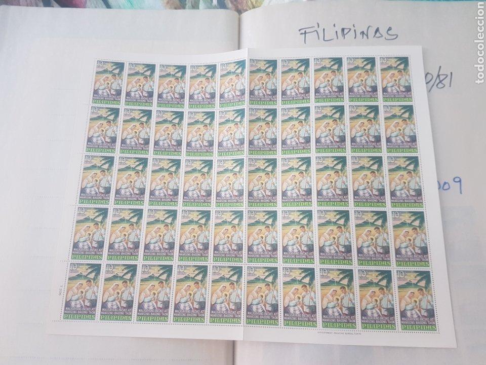 2 HOJAS SELLOS FILIPINAS NAVIDAD 1967 NUEVOS TOTAL 100 SELLOS (Sellos - Temáticas - Navidad)