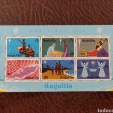 Sellos: HOJA SELLOS ANGUILA 1974 NAVIDAD. Lote 203445943