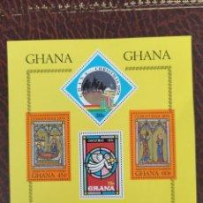 Sellos: HOJA SELLOS GHANA GHANA NAVIDAD 1974. Lote 203479391