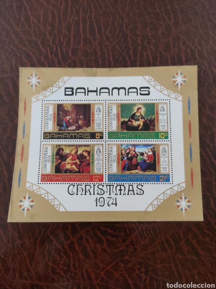 HOJA SELLOS BAHAMAS NAVIDAD 1974 (Sellos - Temáticas - Navidad)