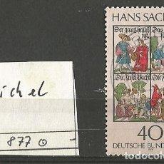 Sellos: ALEMANIA FEDERAL 1976 - MICHEL Nº 877 - HANS SACHS - POETA, MAESTRO CANTANTE Y DRAMATURGO - USADO. Lote 204752995