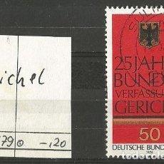 Sellos: ALEMANIA FEDERAL 1976 - MICHEL Nº 879 - 25 AÑOS DE LA CORTE CONSTITUCIONAL FEDERAL - USADO. Lote 204758265