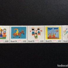 Sellos: BRASIL Nº YVERT 1225/9*** AÑO 1976. NAVIDAD. DIBUJOS INFANTILES. Lote 208979955