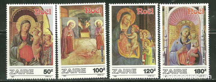 ZAIRE 1987 IVERT 1244/7 *** NAVIDAD - OBRAS DE FRAY ANGÉLICO - PINTURA RELIGIOSA (Sellos - Temáticas - Navidad)