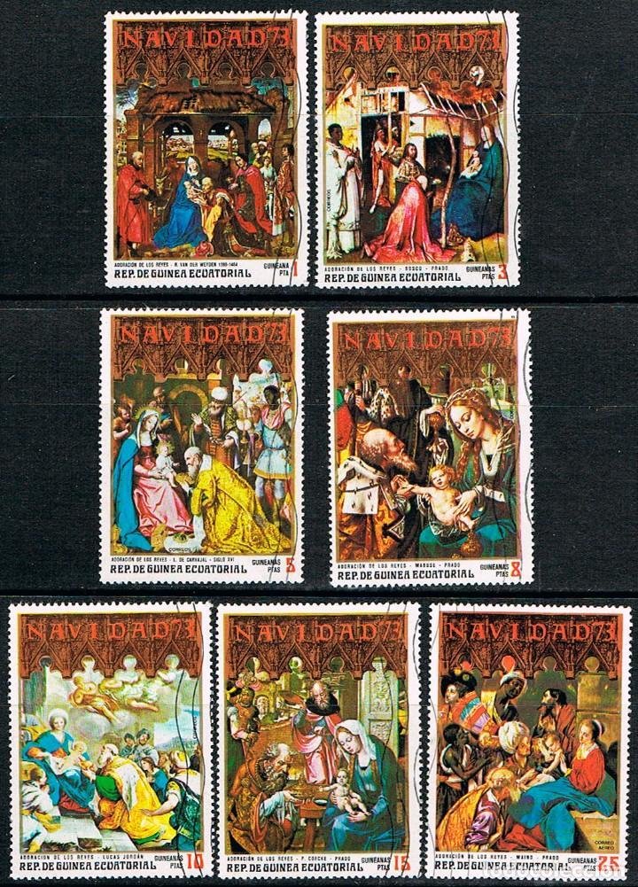 GUINEA ECUATORIAL Nº 460, NAVIDAD 1973, PINTURAS, USADO SERIE COMPLETA (Sellos - Temáticas - Navidad)