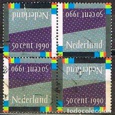 Sellos: HOLANDA IVERT Nº 1365, SELLO PARA NAVIDAD Y AÑO NUEVO 1990, USADO EN BLOQUE DE 4. Lote 213255035