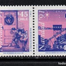 Sellos: CHILE 1084/85** - AÑO 1991 - NAVIDAD. Lote 213563393