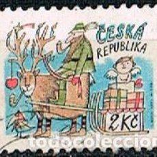 Sellos: REPUBLICA CHECA Nº 28, NAVIDAD 1993, RENO, TRINEO, REGALOS Y SANTA CLAUS, USADO. Lote 214271526