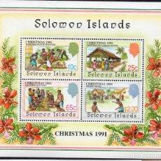 Sellos: SOLOMON IS/1991/MNH/SC#702A/ NAVIDADES 1991. Lote 215582027