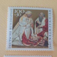 Sellos: SERIE COMPLETA DE 2 SELLOS ALEMANES-RELIGIÓN/NAVIDAD 1992- ADORACIÓN DEL NIÑO-NACIMIENTO DE CRISTO. Lote 215734207