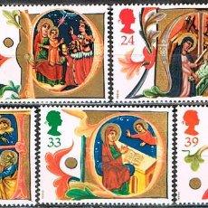 Sellos: GRAN BRETAÑA Nº 1574/8. NAVIDAD 1991, DE UN MANUSCRITO DE SIGLO XIV, NUEVO *** SERIE COMPLETA. Lote 220984081