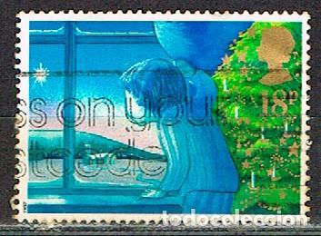 GRAN BRETAÑA IVERT Nº 1289, NAVIDAD 1987, ESPERANDO A SANTA CLAUS, USADO (Sellos - Temáticas - Navidad)