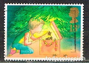 GRAN BRETAÑA IVERT Nº 1289, NAVIDAD 1987, DECORANDO EL ÁRBOL, USADO (Sellos - Temáticas - Navidad)