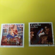 Sellos: 2001 ESPAÑA NAVIDAD ALFEDRO ROLDAN ARTE /JOSÉ RIBERA ADORACIÓN EDIFIL 3835/3836 RELIGIÓN. Lote 221463661