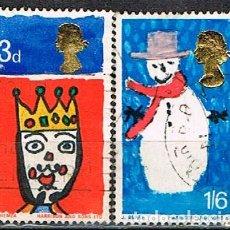 Sellos: GRAN BRETAÑA Nº 461/2, NAVIDAD 1966: REY MAGO Y MUÑECO DE NIEVE. USADO (SERIE COMPLETA). Lote 222699086