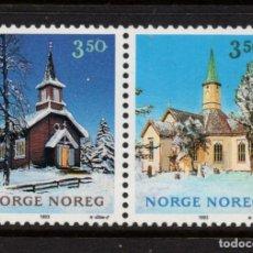 Sellos: NORUEGA 1098A** - AÑO 1993 - NAVIDAD - IGLESIAS. Lote 226853755