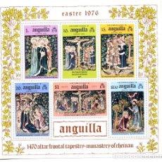 Sellos: ANGUILLA - PASCUA 1976 - HB - TAPICES MONASTERIO RHEINAU - NUEVA. Lote 231234195