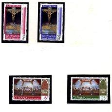 Sellos: GUYANA - PASCUA 1968 YVERT 297/98 + PASCUA 1969 YVERT 315/18 - CUADROS DE SALVADOR DALI - NUEVOS. Lote 231435620