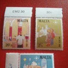 Sellos: SELLOS MALTA NUEVOS/1981/NAVIDAD/NIÑOS/IGLESIA/RELIGION/CREENCIAS/GALLO/PROCESION/ESTRELLA/PEANA/BEL. Lote 234037020