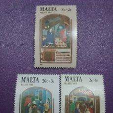Sellos: SELLOS MALTA NUEVOS/1982/NAVIDAD/RELIGION/CREENCIAS/ANUNCIACION/ESCENAS/BIBLIA/NACIMIENTO/REYES/MAGO. Lote 234048160
