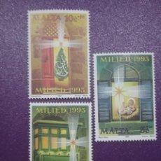 Sellos: SELLOS MALTA NUEVOS/1993/NAVIDAD/RELIGION/CRENCIAS/NIÑO/PINO/ADORNOS/NACIMIENTO/ESTRELLA/BALCON/. Lote 234568735