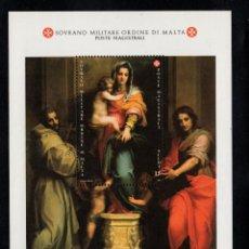 Sellos: ORDEN DE MALTA F 397** - AÑO 1991 - NAVIDAD - PINTURA RELIGIOSA - OBRA DE ANDREA DEL SARTO. Lote 234942655