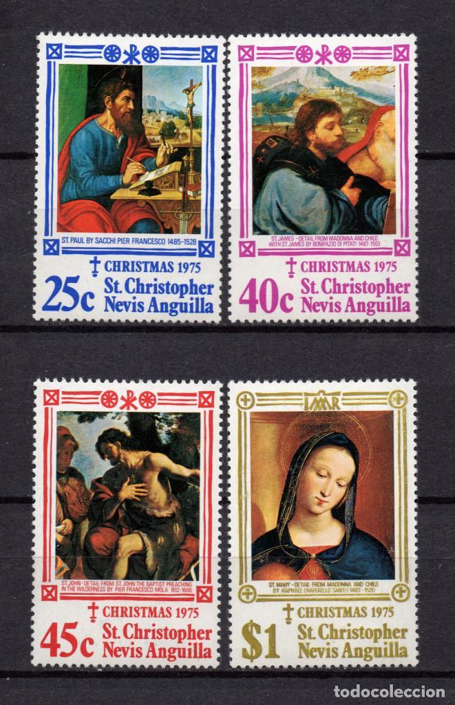 SAN KITTS 324/27** - AÑO 1975 - NAVIDAD - PINTURA RELIGIOSA - OBRAS DE SACCHI, PILATI, MOLA, RAPHAEL (Sellos - Temáticas - Navidad)