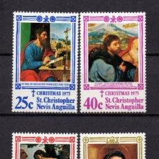 Sellos: SAN KITTS 324/27** - AÑO 1975 - NAVIDAD - PINTURA RELIGIOSA - OBRAS DE SACCHI, PILATI, MOLA, RAPHAEL. Lote 235727590