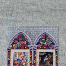 Sellos: ESPAÑA 2001 NAVIDAD EDIFIL 3837 USADA HOJA BLOQUE RELIGION ARTE VIRGEN /NIÑO. Lote 242850465