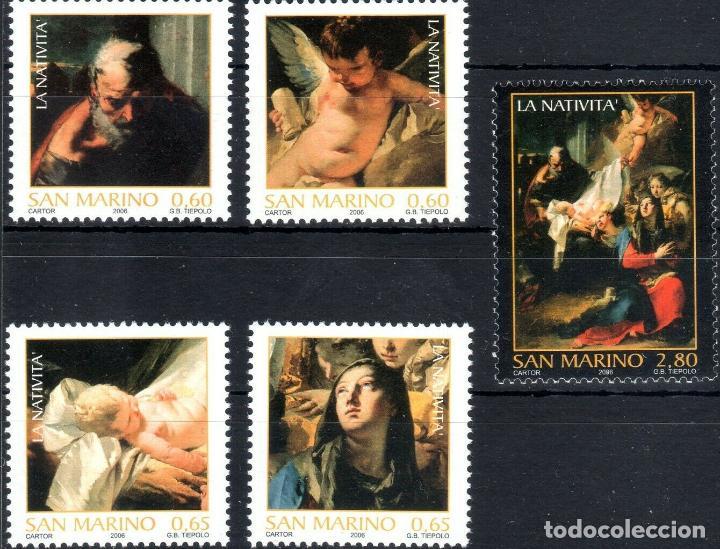 SAN MARINO 2006 IVERT 2073/7 *** NAVIDAD - LA NATIVIDAD - DETALLE PINTURAS DE GIOVANNI BATISTA (Sellos - Temáticas - Navidad)