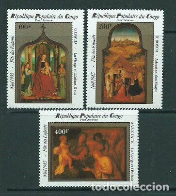 CONGO 1985 AÉREO IVERT 340/2 *** NAVIDAD - ARTE - PINTURA - VIRGEN Y EL NÑO - ADORACIÓN REYES MAGOS (Sellos - Temáticas - Navidad)