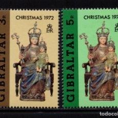 Sellos: GIBRALTAR 288/89** - AÑO 1972 - NAVIDAD - NUESTRA SEÑORA DE EUROPA. Lote 243883475