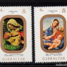 Sellos: GIBRALTAR 312/13** - AÑO 1974 - NAVIDAD - PINTURA RELIGIOSA. Lote 243884605