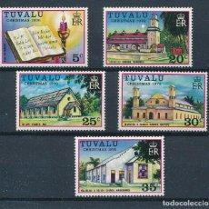Sellos: TUVALU 1976 IVERT 38/42 *** NAVIDAD - IGLESIAS. Lote 257281250