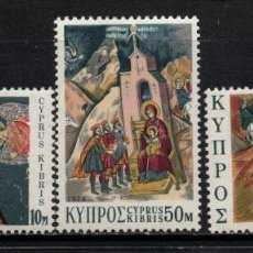 Timbres: CHIPRE 412/14** - AÑO 1974 - NAVIDAD - PINTURA - ICONOS RELIGIOSOS. Lote 257864020