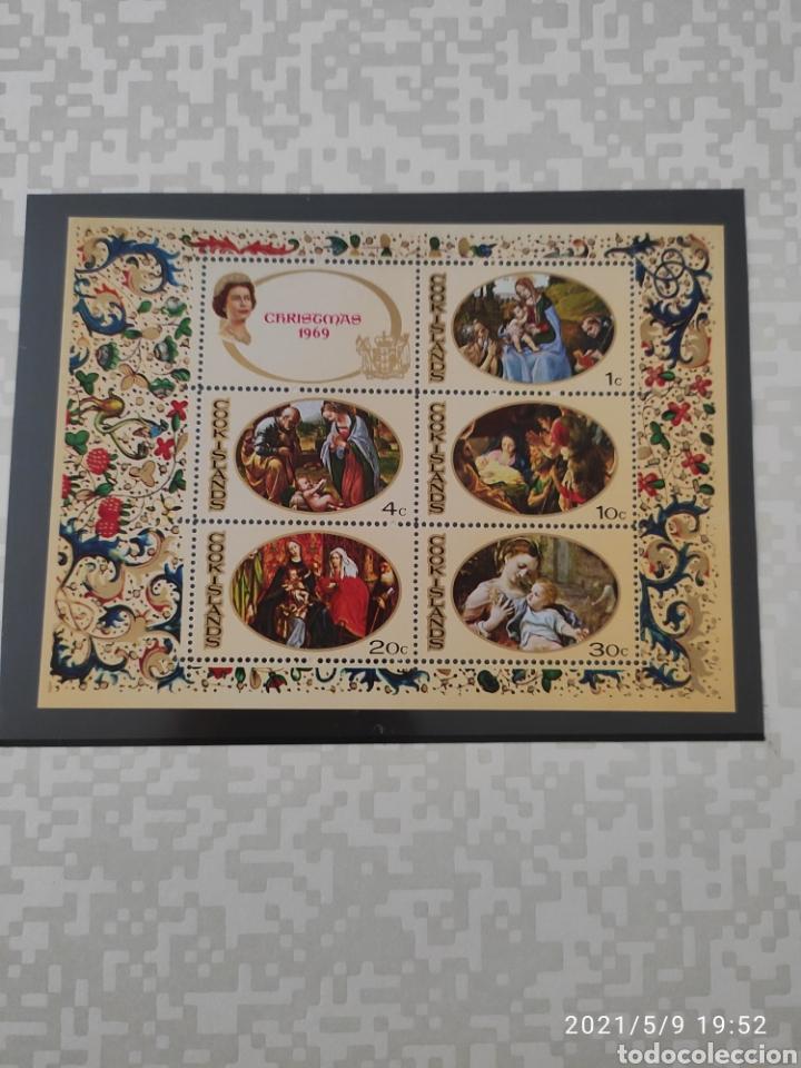 HOJA ISLAS COOK NAVIDAD 1969 (Sellos - Temáticas - Navidad)