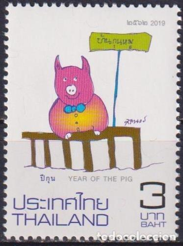 ⚡ DISCOUNT THAILAND 2019 CHINESE NEW YEAR - YEAR OF THE PIG MNH - NEW YEAR, PIGS (Sellos - Temáticas - Navidad)