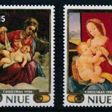 Sellos: NIUE 1986 IVERT 508/11*** NAVIDAD - CUADROS DEL MUSEO DEL VATICANO - ARTE. Lote 266918639